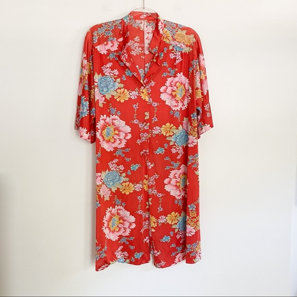 VTG Vanity Fair 80s Floral kimono robe peignoir L